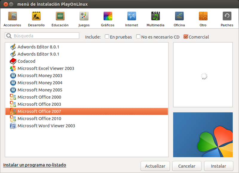 seleccion-office-2007-playonlinux